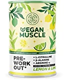 Vegan Muscle® - PreWorkout Performance Booster - Suplemento energético vegano con L-Citrulina, Beta-Alanina, Arginina-Alfa y Creatina - Sabor Limón y Lima - 300g