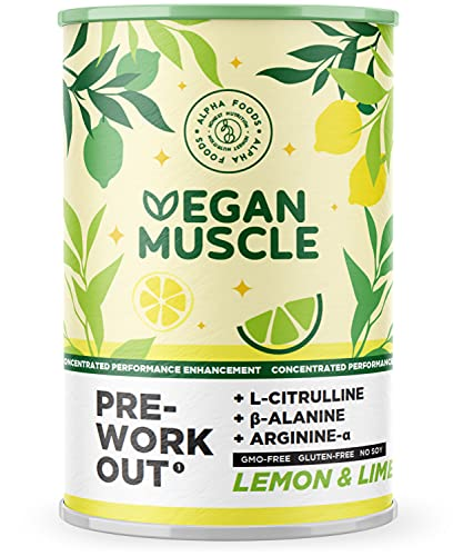 Vegan Muscle - PreWorkout Performance Booster - Integratore energetico Vegano con L-Citrullina, Beta-Alanina, Arginina-Alfa e Creatina - Sapore di Limone e Lime - 300g