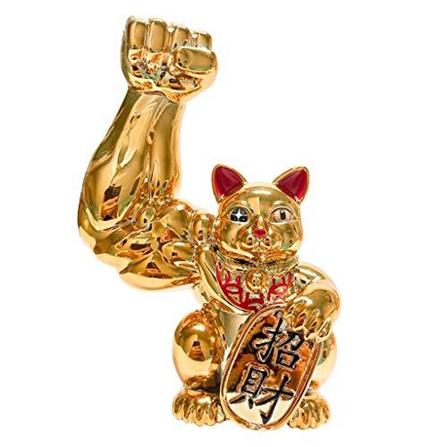 FITYLE [[[[['Figuras de Gato de La Suerte de Brazo Grande Gato de La Suerte de Feng Shui Dorado