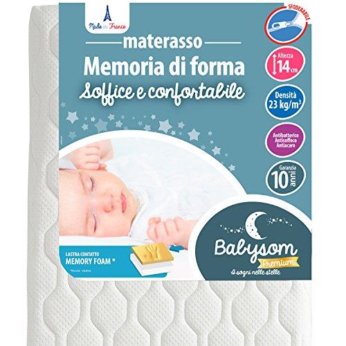 Babysom - Materasso Lettino in Memory Foam per Lettino Bambino | Per Neonato - 60 x 120 cm - Altezza 14cm - Sfoderabile e Lavabile - Garanzia 10 anni