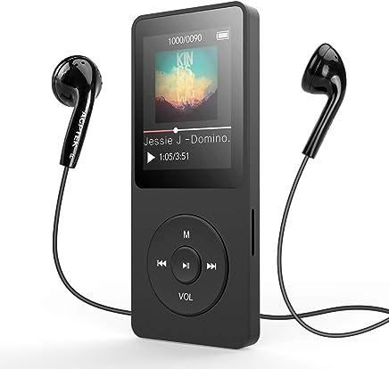 AGPTEK A02T Lettore MP3 Bluetooth 8GB, MP3 Player con Schermo TFT da 1,8 Pollici, Radio FM e Registratore Vocale, Supporto Scheda SD Fino a 64 GB, Nero