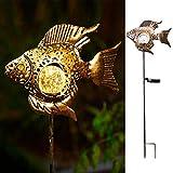 Solar Garden Decoration Outdoor Lights, Metal Fish Stakes LED Lights for Patio, Garden, Yard, Walkway (Bronze)