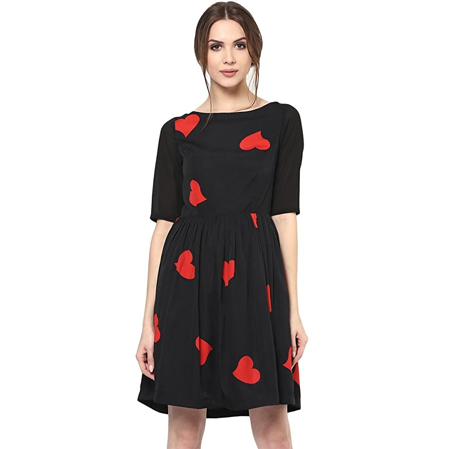 Roving Mode Women's Cute Mini Heart Print Casual 3/4 Sleeve Party Dress | XS to 5XL Black