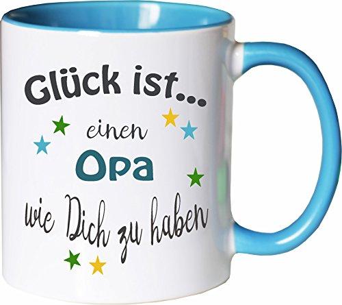 WarmherzIch Becher Tasse Glück ist… Opa Kaffee Kaffeetasse liebevoll Bedruckt Opi Großvater Vatertag Weiß-Hellblau