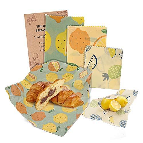 Bijenwas Wrap 3 Pack, Vibeey Eco Friendly Herbruikbare Bijenwas Voedsel Wraps, Duurzame Niet Plastic Bijen wrap voor Kaas, Fruit, Groente en Brood (1 Kleine/1 Medium/1 Large)
