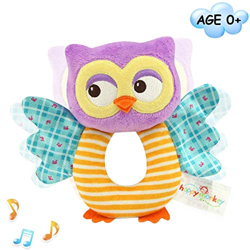 Baby Rattles Cartoon Plush Owl Stuffed Animal Shaker Toy Ring Rattle Newborn Toys