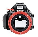 Olympus PT-EP13 - Carcasa subacuática para cámara Olympus OM-D E-M5 Mark II, Negro y Rojo