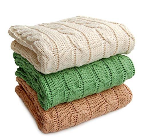 Sonnenstrick 3009009Couverture/plaid bébé/Couverture tricotée 100% coton bio avec torsade Crème