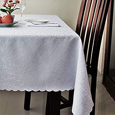 AHOLTA DESIGN Stain Resistant Turkish White Tablecloth Polyester Table Linen - Rectangle Square Round Washes Easily Non Iron - Thanksgiving Christmas Dinner Wedding Easter (WHITE, Rectangle 60 x120 )