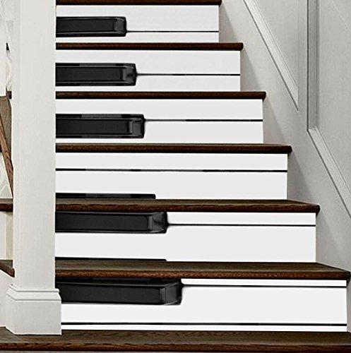 Pegatinas 3D para pared de escaleras de piano, modelo de llaves de piano, autoadhesivas, diseño de globo reacondicionado, ecológico, papel pintado de PVC, decoración para el hogar, extraíble, fácil de aplicar, 1 juego (6 piezas)