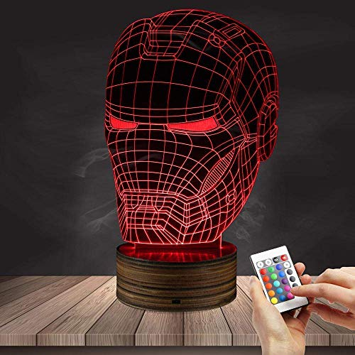 3D Night Light Iron Man Casco Vision Led Light Wood Control Remoto 7 Color Illusion Atmosphere Table Lamp Child Gift Toy