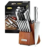McCook MC29 Knife Sets,15 Pieces German Stainless Steel Kitchen Knife Block Sets with Built-in...