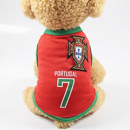 Naisidier Souvenir de la Coupe Du Monde 2018 Weste Pet Jacke mit Dem Logo von Pays für die Fan des Football Pet Clothe Kostüm Katzen, Portugal 1 PC