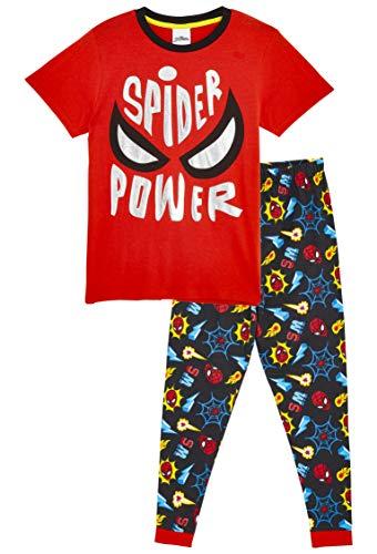 Marvel Spiderman Schlafanzug Jungen, Kinder Pyjama, Kinder Schlafanzug, Baumwolle Nachtwäsche, Zweiteiler Pyjama Helden, Tshirt und Lang Schlafhosen Set, Geschenke für Kinder (5/6 Jahre (110-116 cm))