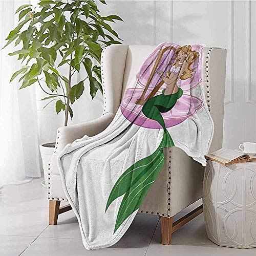 mallcentral-EU Meerjungfrau-bewegliche Decken Kleine Meerjungfrau mit dem blonden Haar, das Harfe-Märchen-Romanze Art Illustration Pink Green spielt