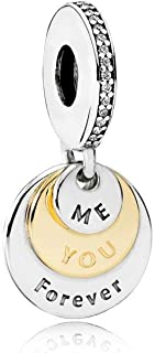 Engravable You & Me Forever Two Tone Pendant Charm, Clear Cubic Zirconia CZ 791979CZ