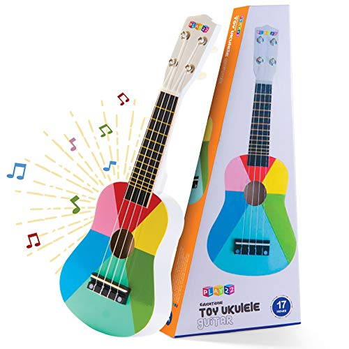Play22 Kids Guitar Ukulele 17 Inch  4 Strings Wooden Guitar Kids Ukulele Guitar Musical Instrument Musical Toy Learning Educational Gift Toys for Toddler Boys and Girls Beginners First Musical Guitar
