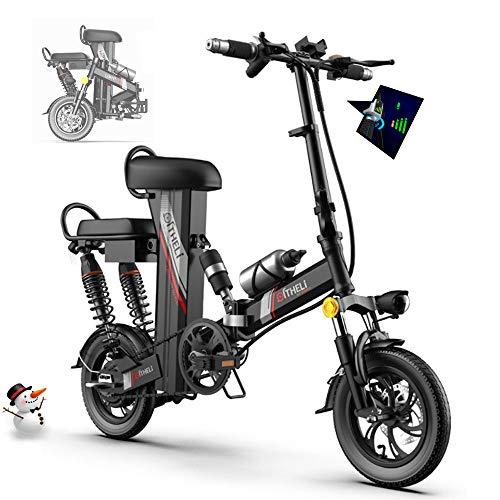 Elektrofahrrad Ebike, Mountainbike Klapprad 12 Zoll mit 48V 11Ah Lithium-Akku, 350 W Motor 30 km/h, Elektrische E-Bike MTB mit Smartphone-Halter LED Armaturenbrett für Herren Damen,Schwarz