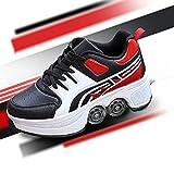 TAOXUE Adultos Niños Automáticos Caminar Parkour Zapatos Deformación Roller Zapatos Hombre Y Mujer Patinaje Zapatos Con Ruedas Doble fila Polea Zapatos