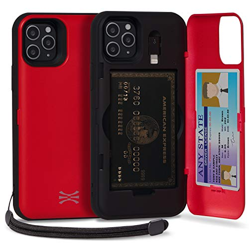 TORU CX PRO iPhone 11 Pro Max Case Wallet Red with Hidden Credit Card Holder ID Slot Hard Cover, Strap, Mirror & Lightning Adapter for Apple iPhone 11 Pro Max (2019) - Red