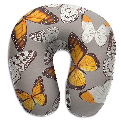 Almohada en Forma de U, Cuello, Mariposas, Naranja, Viaje, Almohada Multifuncional, Coche, avión