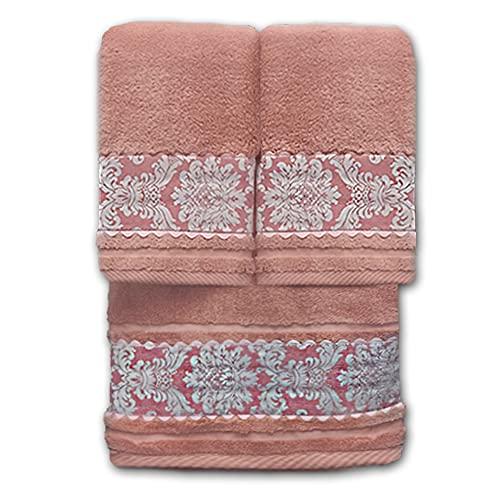 O´LANG-10025- Juego 3 Toallas Premium de 600 Gramos con Greca Estampada, Color Rosa, 100% Algodón. Compuesto por 3 Toallas - 2 Toallas de Lavabo (50x100cm) y 1 Toalla de baño Grande (100x150cm). ✅