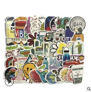 KATTERS Pegatinas para maletas Graffiti impermeables para pequeños maletas Amazon no inflados 50