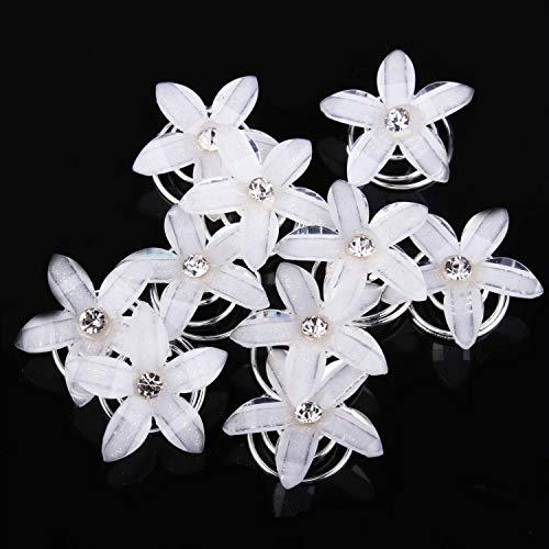 musuntas 8stk. precioso horquillas blanco flores novia boda perla strass boda novia joyas novia pelo joyas brillantes Pinza de pelo