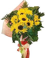 Ramo de flores naturales a domicilio de girasoles con el envio y la nota dedicatoria incluidos en el precio