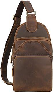 Tiding Vintage Men's Genuine Leather Sling Bag Crossbody Shoulder Chest Pack Unbalance Backpack For Travel School Sport Hiking - (Brown, Medium Size)