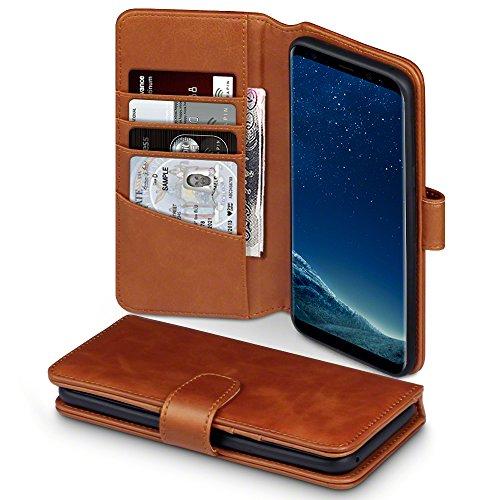 TERRAPIN, Kompatibel mit Samsung Galaxy S8 Plus Hülle, Premium ECHT Leder Flip Handyhülle Samsung Galaxy S8 Plus Tasche Schutzhülle - Cognac