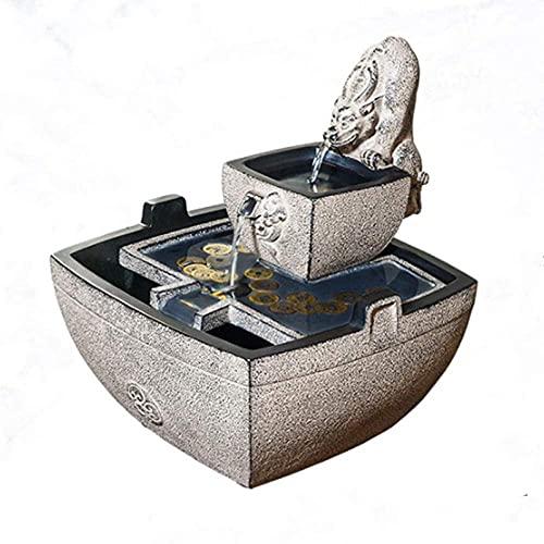 FHISD Cascada pequeña de 2 Niveles para Interior con Fuente de Agua Decorativa portátil LED para Interior y Exterior, Escritorio, Patio, jardín, Patio Trasero, Cascada de medit
