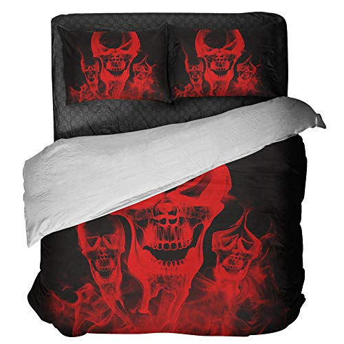 Gzsyb Bed Linen Duvet Set Cover And Pillow Case Microfibre With 1 Quilt Case 2 Pillowcases Case Red skull 3D Digital Print Three - Piece Bed Linen Double 220x230 cm