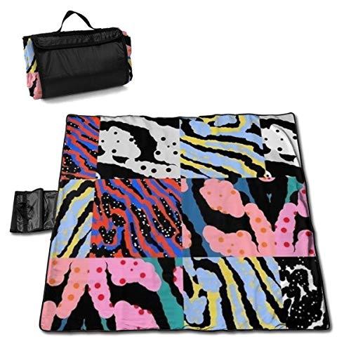GuyIvan Strand Picknick Decke Helle Farbe Streifen Nähen Wasserbeständig Outdoor Handy Matte Falttasche Musik Festivals Quick Dry Bag
