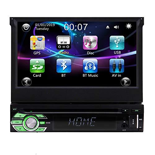 EINCAR Single 1 DIN Car Stereo con Bluetooth 7 Pulgadas Pantalla táctil abatible Radio CD Reproductor de DVD Navegador GPS en el Tablero Unidad Principal Soporte Control del Volante FM/Am USB/SD