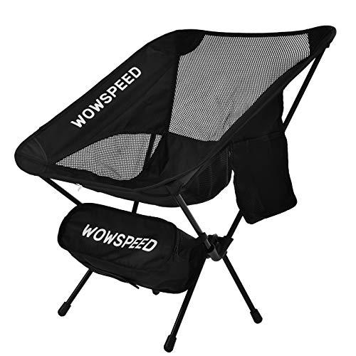 Silla plegable ultraligera con bolsa de transporte, para pesca, jardín y camping, soporta hasta 120 kg, color negro