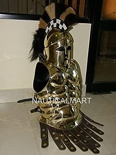 NAUTICALMART Greek Corinthian Helmet with Muscle Armor in Brass Finish