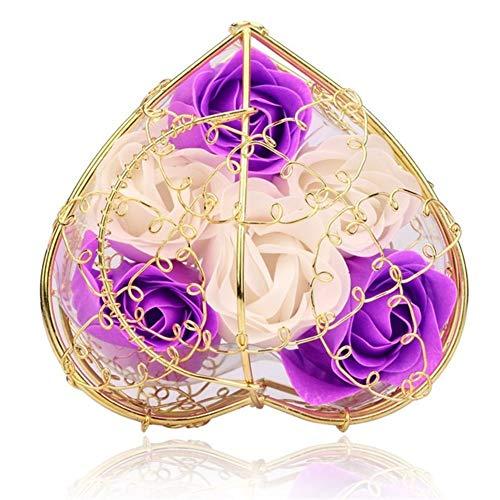 6pcs Savon Rose Couleur Mixte Coeur Bain Parfumé Corps De Pétales De Rose Fleur Savon Mariage Décoration Meilleur Cadeau For Les Amoureux (Color : Pur