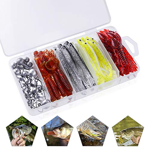 Soft Fishing Lures for Bass, Paddle Tail Swimbaits, Soft Jerkbait, Grub Fishing Lures, Craw Baits, Curved Tail Grubs with Jig Heads for Fresh Water and Salt Water