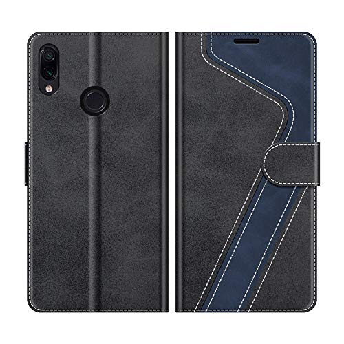 MOBESV Handyhülle für Xiaomi Redmi Note 7 Hülle Leder, Xiaomi Redmi Note 7 Klapphülle Handytasche Hülle für Xiaomi Redmi Note 7 Handy Hüllen, Modisch Schwarz