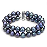 """Sterling Silver 2 Rows 8-8.5mm Dyed-black Freshwater Cultured Pearl Bracelet with Tube Clasp, 7.25"""""""