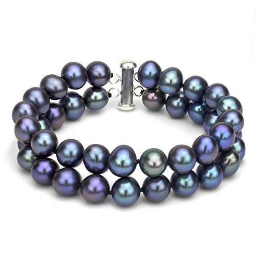 Sterling Silver 2 Rows 8-8.5mm Dyed-black Freshwater Cultured Pearl Bracelet with Tube Clasp, 8.5