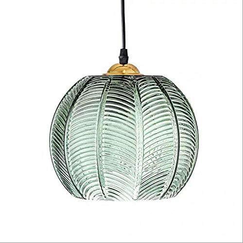 SUSUO Modern Pumpkin Dinette Pendant Ligh Green Ribbed Glass Ceiling Lighting Hanging for Kitchen product image