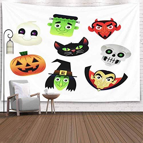 Tapiz para colgar en la pared, tapiz para dormitorio, decoración de la habitación, juego al aire libre, dibujos animados, Halloween, fantasma blanco, monstruo de Frankenstein, tapiz de otoño, manta de