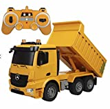 Bo-Toys Large 14 Inch Rc Heavy Construction Dump Truck Remote Control 1:18 6 Channel w/ Lights and Sound