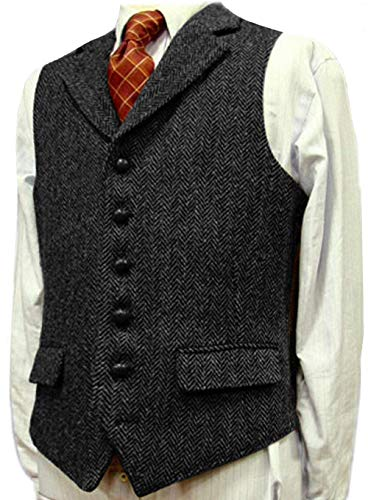 Solove-Suit Herren Casual Anzug Weste Wolle/Tweed Slim Fit Weste Groomsmen Hochzeit Weste Kleid(M, schwarz)