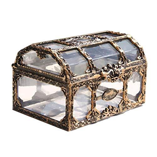 Caja de almacenamiento de cosméticos transparente Caja de tesoro pirata de plástico transparente vintage Caja de almacenamiento de joyería pequeña útil Caja de almacenamiento de joyería vintage