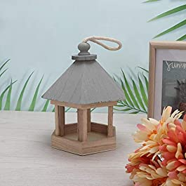 Meiyya Bird Toy, Outdoor Wooden Birds House Shaped Feeder Food Container with Hang Rope for Garden Park