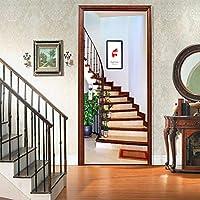 ホームデコレーションのための3D階段ステップステッカードアステッカー自己粘着ドアの壁画壁紙ステッカー、78.7「X30.3」(200X77cm),C
