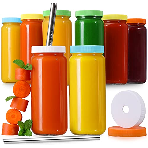 8 Pack Glass Juicing Bottle Drinking Jars with 2 Straws & 2 Lids w Hole- 16 OZ Travel Water Cups with Colored Airtight Lids, Reusable Tall Mason Jar for Juice, Boba, Smoothie, Tea, Kombucha